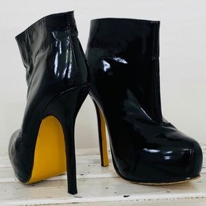 Authentic YSL Black Patent Leather Stiletto Boots
